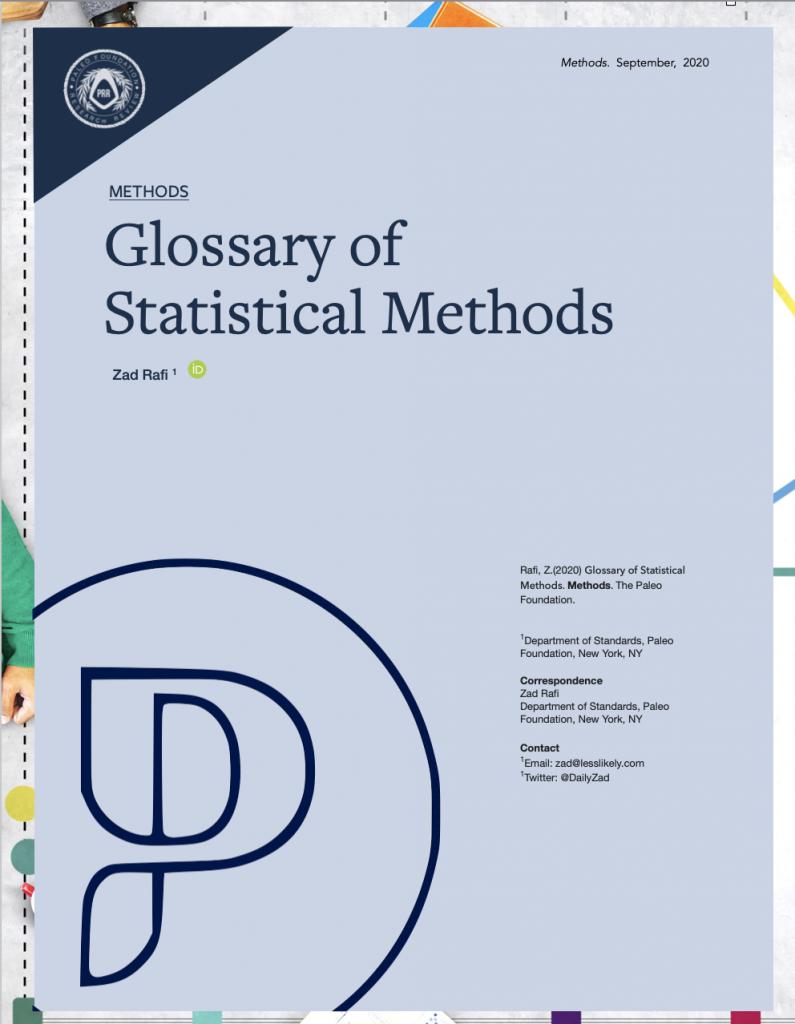 Glossary of Statistical Methods Zad Rafi