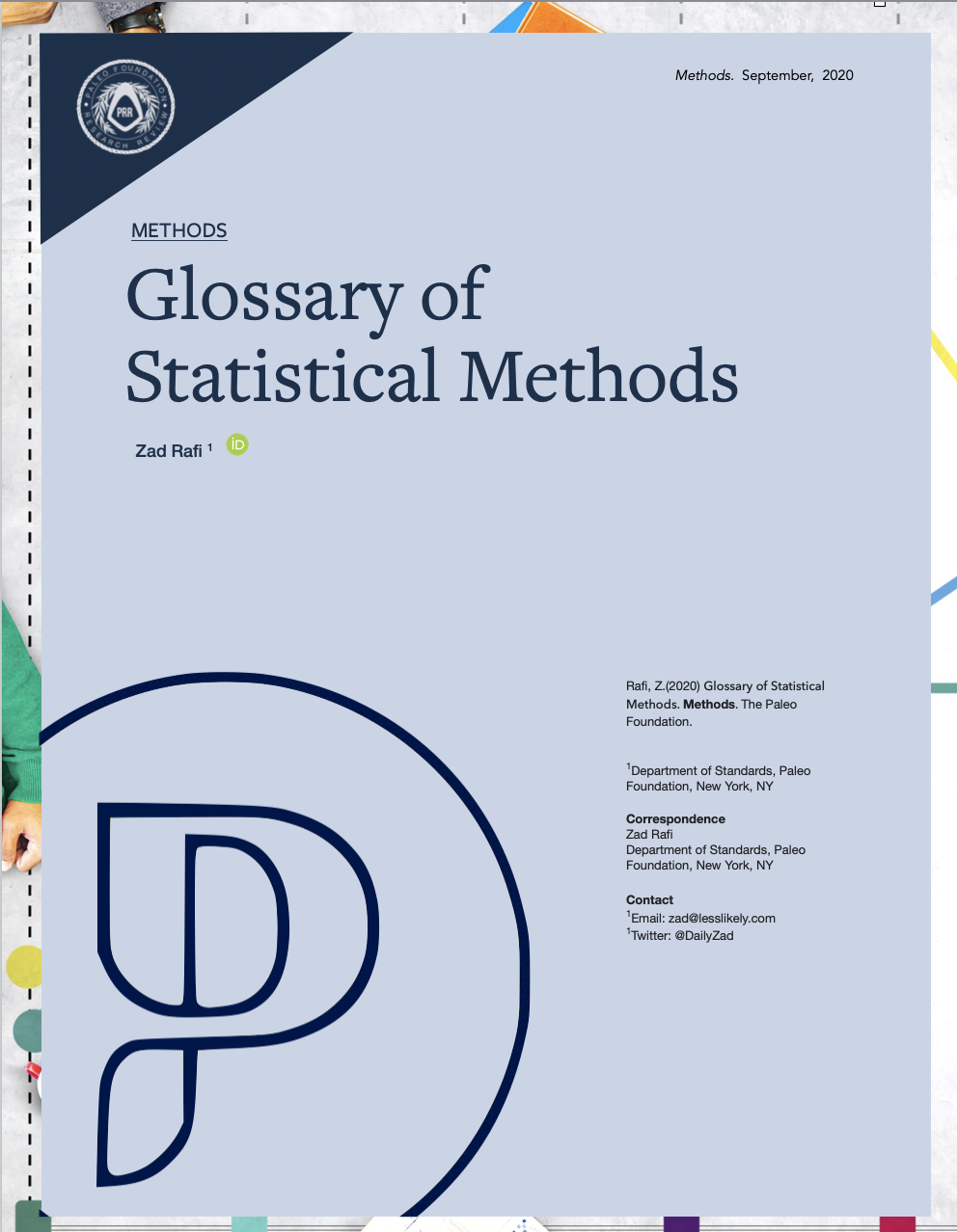 Glossary of Statistical Methods Zad Rafi