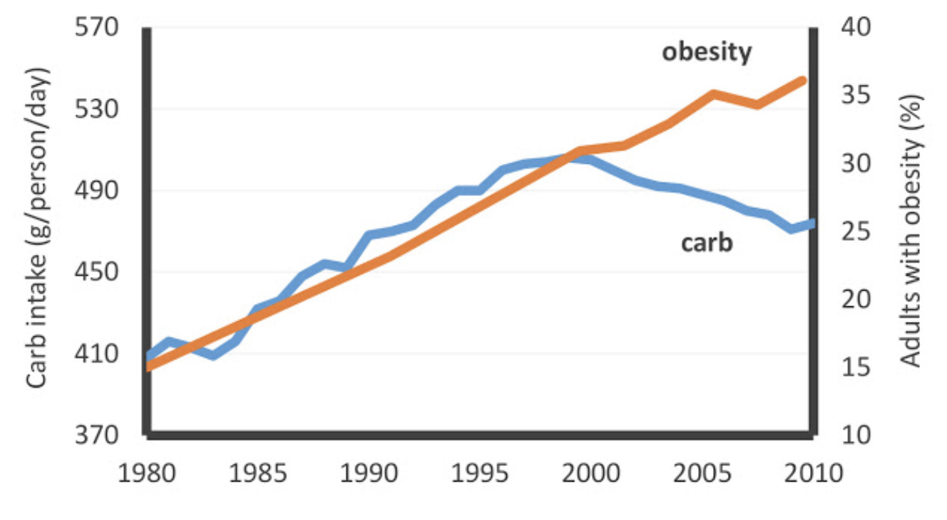 US Carbohydrate Intake vs. Obesity Prevalence, 1980-2010.