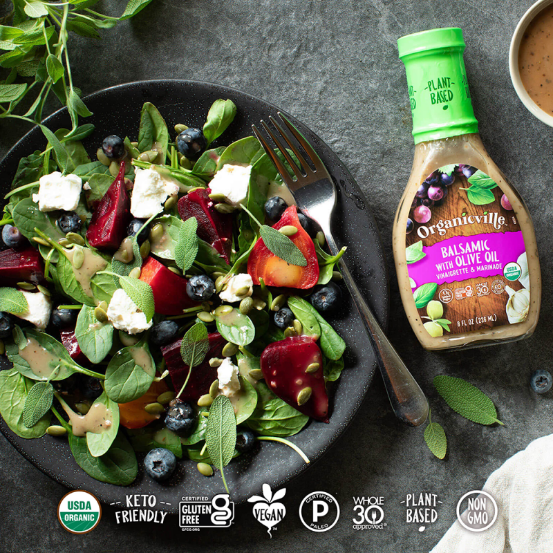 Balsamic Dressing Spinach Salad - Organicville - Certified Paleo by the Paleo Foundation