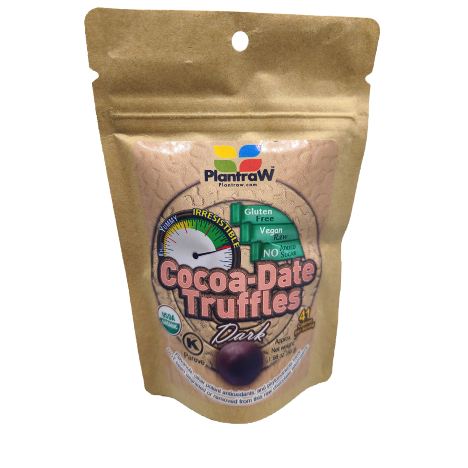 Cocoa Date Truffles Dark - Plantraw - Keto Certified by the Paleo Foundation