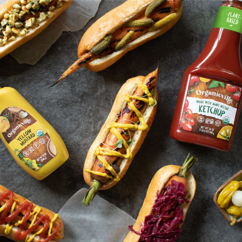 Mustard and Ketchup Carrot Hot Dogs - Organicville - Certified Paleo by the Paleo Foundation