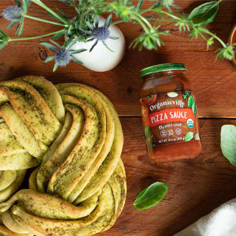 Pizza Sauce Braided Pesto Bread 2 - Organicville - Certified Paleo by the Paleo Foundation
