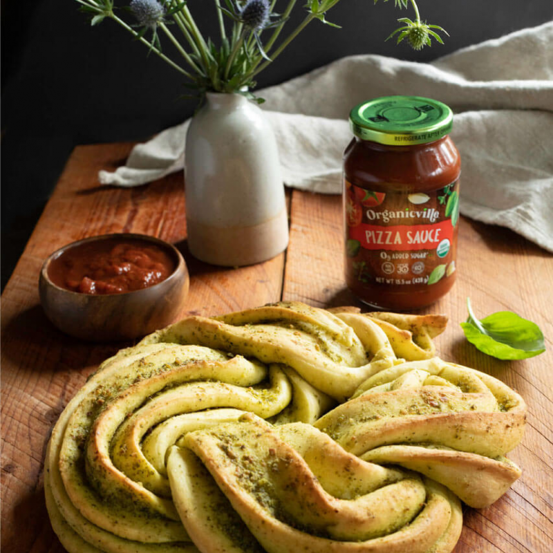 Pizza Sauce Braided Pesto Bread 3 - Organicville - Certified Paleo by the Paleo Foundation