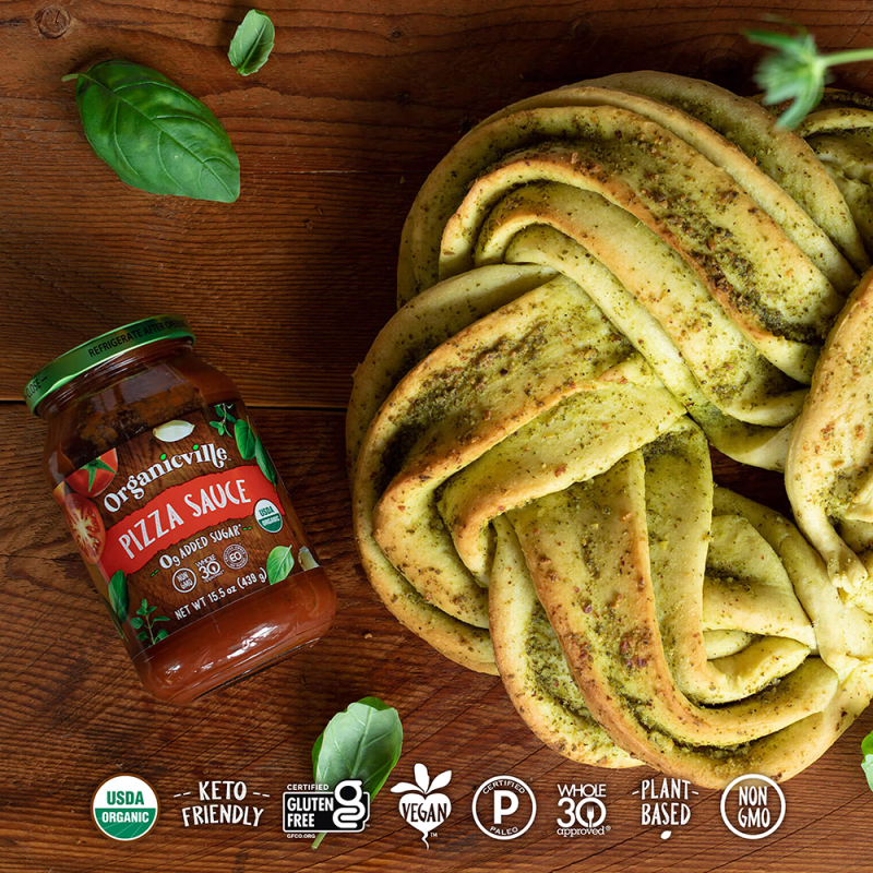 Pizza Sauce Braided Pesto Bread - Organicville - Certified Paleo by the Paleo Foundation