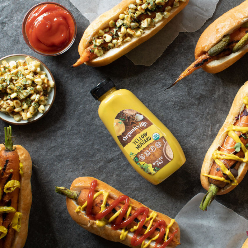Yellow Mustard Carrot Hot Dogs 2 - Organicville - Certified Paleo by the Paleo Foundation