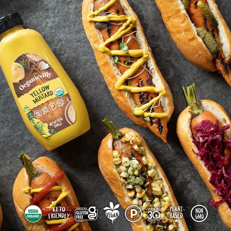 Yellow Mustard Carrot Hot Dogs - Organicville - Certified Paleo by the Paleo Foundation