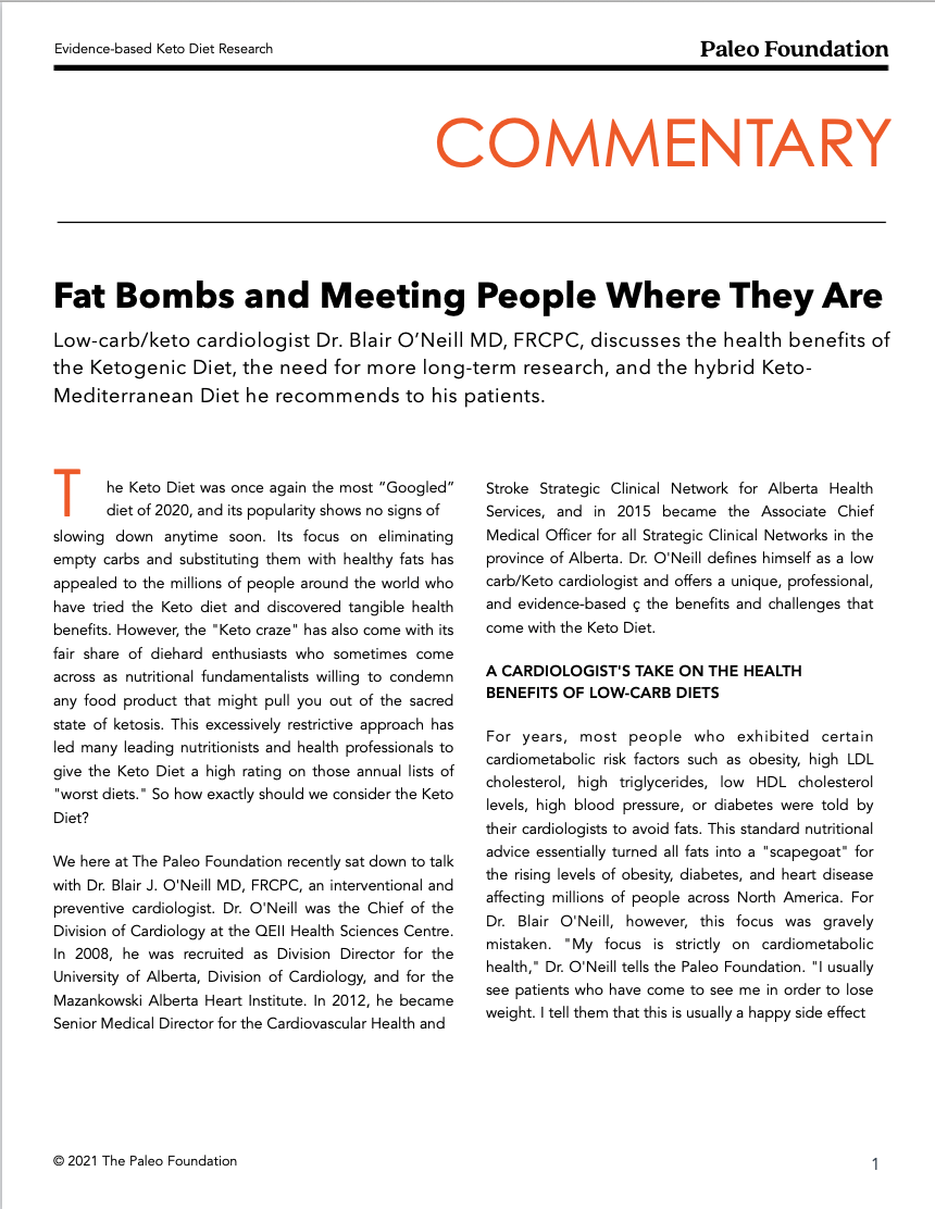 Fat Bombs and Meeting People Where They Are Dr. Blair O'Neill MD Keto diet