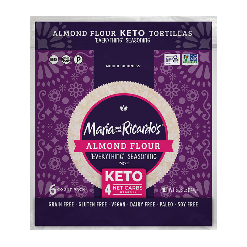 Almond Flour with Everything Seasoning Tortillas - Maria and Ricardo's - Certified Paleo Keto Certified by the Paleo Foundation
