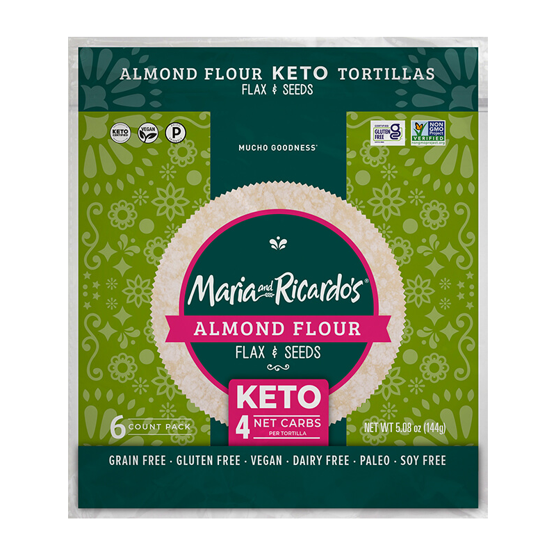 Almond Flour with Flax and Seeds Tortillas - Maria and Ricardo's - Certified Paleo Keto Certified by the Paleo Foundation