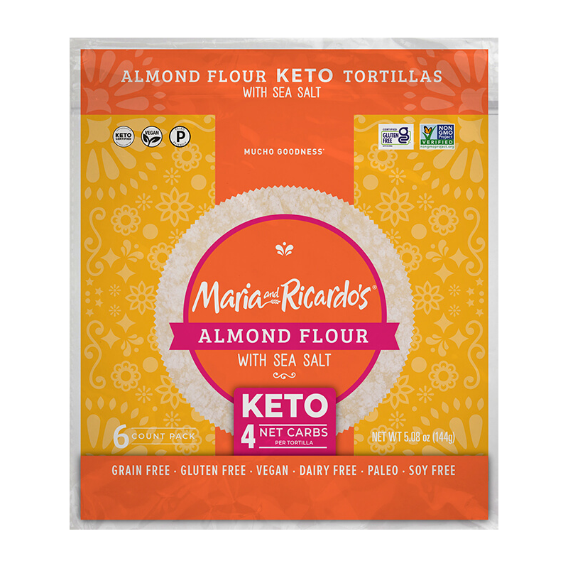 Almond Flour with Sea Salt Tortillas - Maria and Ricardo's - Certified Paleo Keto Certified by the Paleo Foundation
