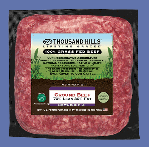 Keto Blend Ground Beef Gallery 1 - Thousand Hills Lifetime Grazed - Certified Paleo Keto Certified by the Paleo Foundation