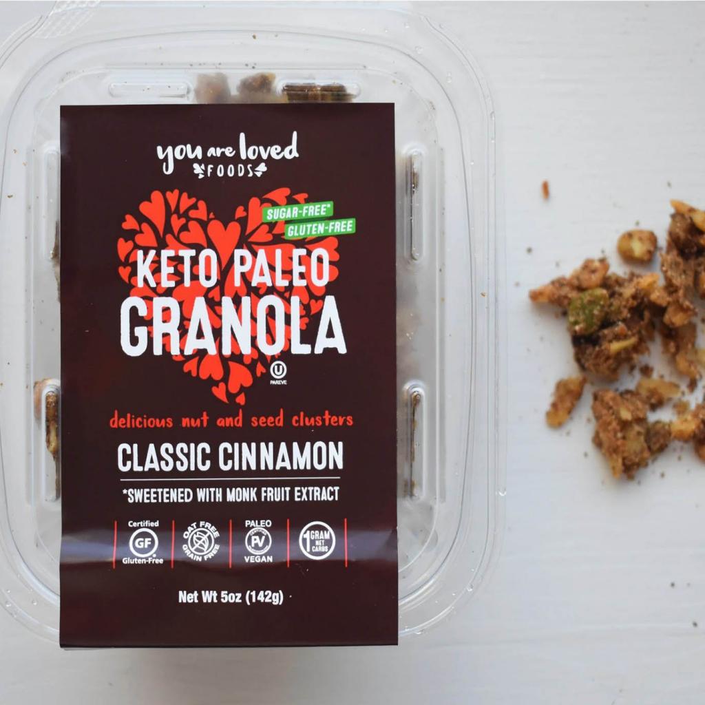 Keto Paleo Granola Classic Cinnamon - You Are Loved Foods - Certified Paleo Paleo Friendly Paleo Vegan Keto Certified by the Paleo Foundation