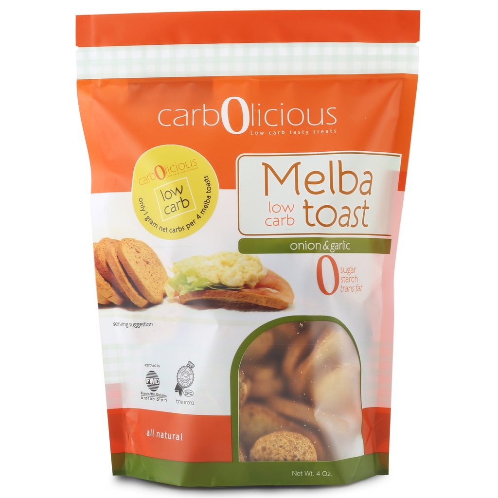 Low Carb Melba Toast Onion and Garlic - Carbolicious - Keto Certified by the Paleo Foundation