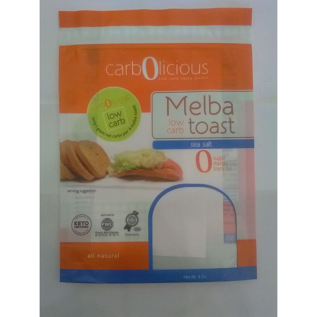 Low Carb Melba Toast Sea Salt - Carbolicious - Keto Certified by the Paleo Foundation