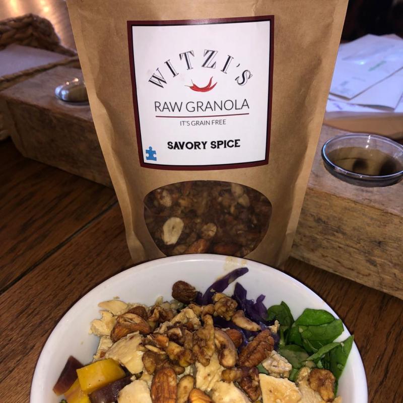 Savory Spice Granola With Fruit Salad - Witzi's Raw Granola - Certified Paleo Keto Certified by the Paleo Foundation