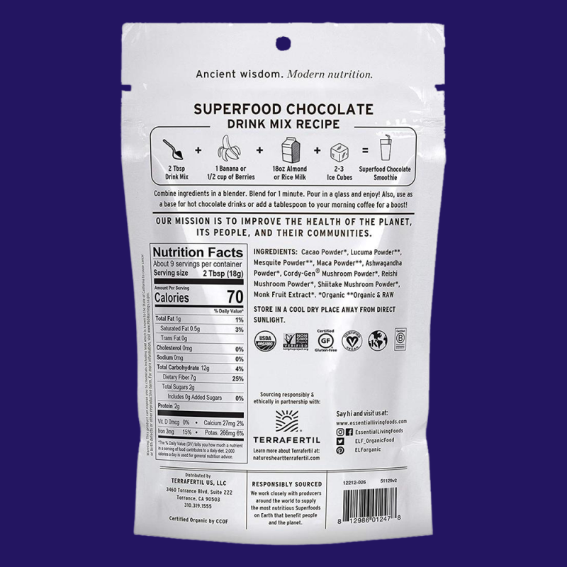 Superfood Chocolate Drink Mix Gallery 2 - Essential Living Foods - Keto Certified by the Paleo Foundation